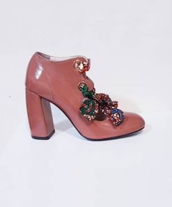 Coral coloured heel shoes with coloured lace made in Italy Arctic Crack