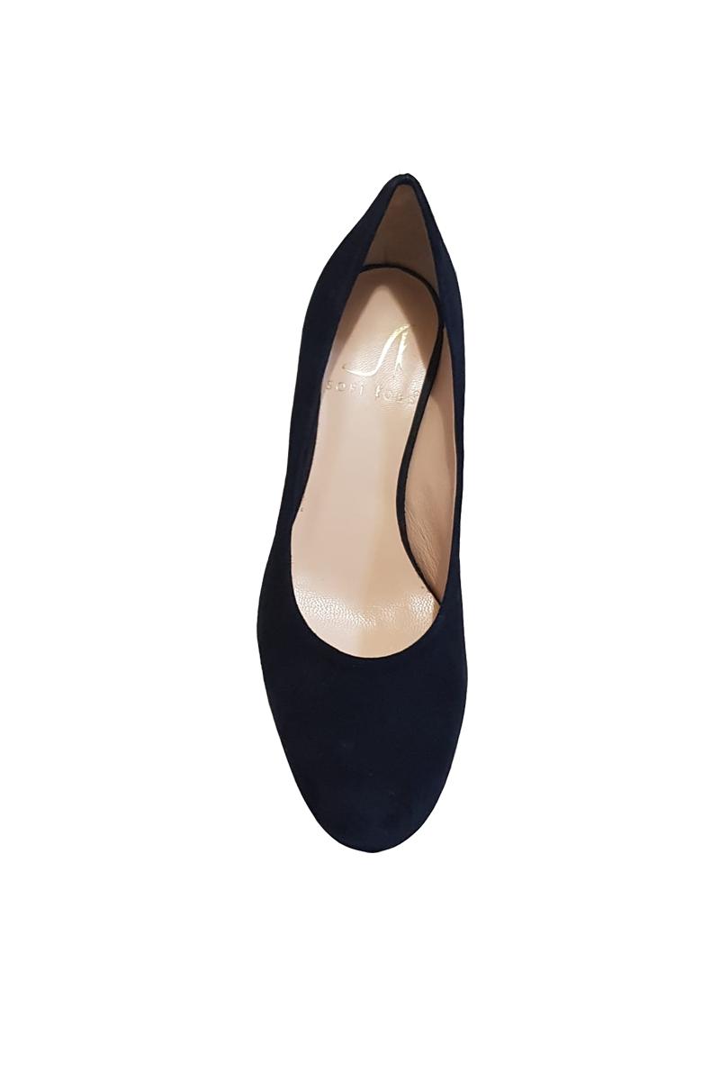 new arrival ff68b f57fa Jenny scarpe basse camoscio color nero con borchie tacco ...