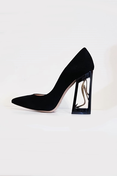 Sofi Gold black shoes with empty cube heel