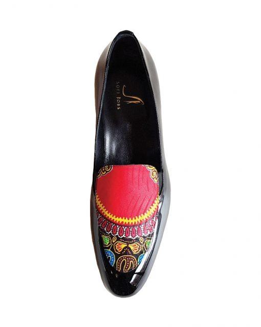 Etna man scarpe uomo di vernice in nero e interni in pelle dettagli in prezioso tessuto viscosa sofi kobs scarpe