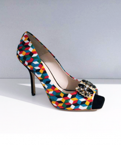 Matilda Sofi Kobs shoes with heels made of cloth and leather with black Swarovski decorations