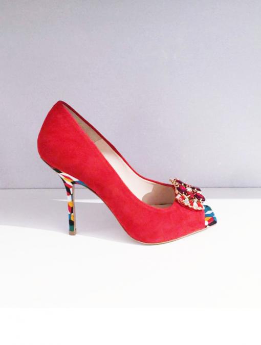 Valentina Rosso scarpe Sofi Kobs di camoscio rosso il tacco in stoffa di cottone decorata con Swarovski