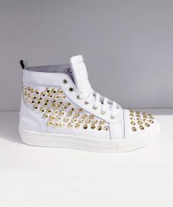 Vivienne sneakers in pelle bianca con bochie a piramide Sofi Kobs