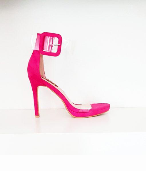 Sandali donna rosa tacco alto di camoscio e plexy glass